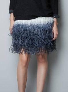 Blue Gradual Change Ostrich feather Skirt 50.00