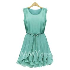$19.69 Strappy Beam Waist Plicated Flounces Chiffon Solid Color Dress For Women
