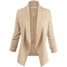 Luna Flower Women's 3/4 Cinched Sleeve Solid Color Open Front Blazer... ($20) ❤ liked on Polyvore featuring outerwear, jackets, blazers, short-sleeve blazers, sleeve jacket, flower jacket, flower blazer and open front blazer