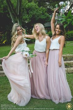 Revelry - Skylar Skirt, $125.00 Revelry has affordable, trendy, and designer quality bridesmaid dresses and separates. Everything is available in endless colors and sizes 0-32! Try before you buy and order a Revelry Sample Box!(http://wedding.shoprevelry.com/Revelry-bridesmaid-dresses-and-separates-tulle-skylar-maxi-skirt/)