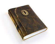 "Leather Art Journal, Vintage Keyhole - ""Heirloom"" - Victorian Collection. $74.00, via Etsy."