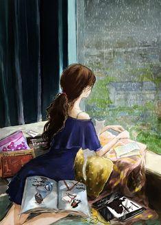 Illustration by Jungsuk Lee - Ego - AlterEgo Sad Girl Art, Anime Art Girl, Poster Print, Cute Couple Art, Joker Art, Anime Scenery, Jolie Photo, Anime Comics, Cute Illustration