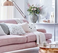 Top pin of the day: A pretty in pink living room  - housebeautiful.co.uk