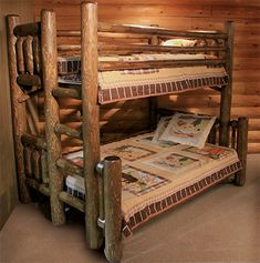 Log bunkbeds with desk | ... Rustic Log Bunk Bed from Rocky Top Cedar Log Furniture & Log Railing