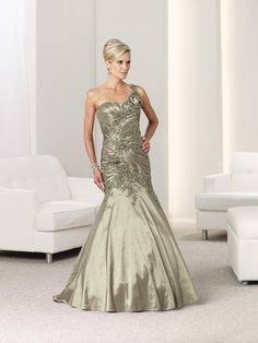 One Shoulder Court Train Taffeta Trumpet Mermaid Mother Of The Bride Dress With Appliques