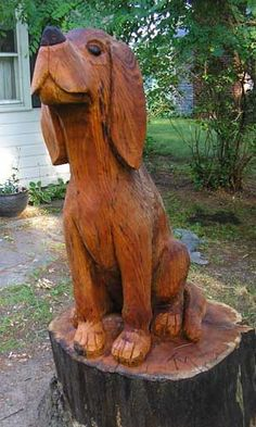 Carved tree-hound.
