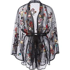 Red Valentino Fancy Flower Embroidered Point D'Espirit Kimono (€2.280) ❤ liked on Polyvore featuring lingerie, jackets, outerwear, valentino, coats and red valentino