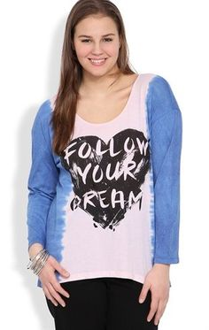 Deb Shops Plus Size Top with Follow Your #Dream Screen and #Ombre Long Sleeves $24.90