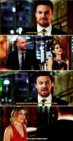 """I need to buy some socks. Everybody has their thing"" - Oliver, Quentin, Thea and Felicity #Arrow"