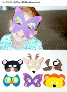 quick and easy animal masks for kids. A fun and simple kids craft idea - The Creative Mom Animal Masks For Kids, Mask For Kids, Masks Kids, Theme Carnaval, Diy For Kids, Crafts For Kids, Masque Halloween, Felt Mask, Easy Animals