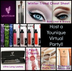 """Have a Younique on-line Party and earn FREE Younique Products!!!  Younique all natural mineral makeup. Shop 24/7!  Younique Make-up, Try it, you will love it! Welcome to the """"On-line Make-up Spa Party""""!   Join my Team and have your own Make-up party business. So many ways to sell and earn residual  income!! https://www.youniqueproducts.com/getdivalashes"""