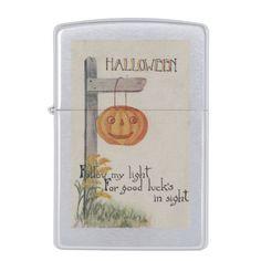 Halloween GreetingJack-O-Lantern on Post Zippo Lighter