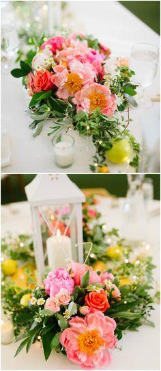 Wedding centerpiece, white lantern, coral charm peonies, roses, floral décor // Robert Radifera Photography