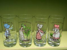 vintage Holly Hobbie set of 4 drinking glasses with inspirational quotes $22 VintageOrphanage on etsy