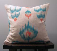 Teal and Orange Ikat Pillow. $50.00, via Etsy.