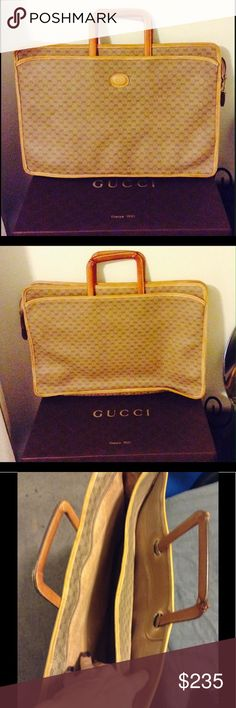 Authentic Gucci leather briefcase Vintage inside is worn out and one of the handle corner is worn out Gucci Bags Travel Bags