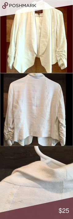 Karen Kane white jacket Size small. Does have a small blemish-see pic. Price is reflecting already on price. Originally $159. NWOT Karen Kane Jackets & Coats Blazers