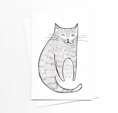 Sitting Cat Note Card by kristensolecki on Etsy