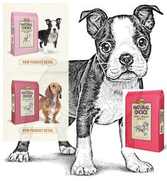 Nature's Choice. Lovely pen and ink. #pet #food #packaging for more information visit us at www.coffeebags.co.za