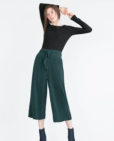 Image 1 of CROPPED FLOWING TROUSERS from Zara