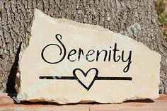 Engraved Garden Stone - Serenity with heart line  From $35