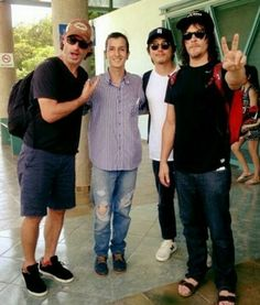 Norman Reedus, Andrew Lincoln, Steven Yuen and fan at airport in Costa Rica.