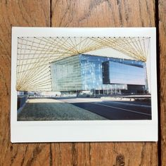 Embroidery on polaroid - Reykjavik by Julie Robert #embroidery #polaroid #iceland #harpa