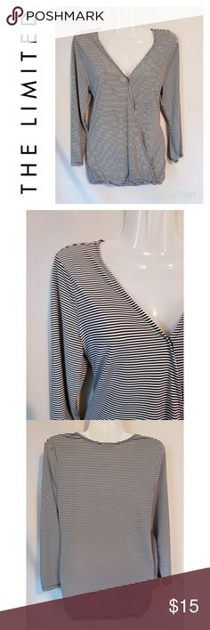 The Limited Striped Surplice Top The Limited brand black and white striped surplice top. Faux wrap style provides a loose, flattering fit. Versatile piece. Dress up or down.  Approximate measurements (laying flat): Bust - 38' Length - 23' The Limited Tops Blouses