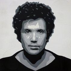 Lucio Battisti Dipinto a mano su base di legno dimensioni in cm. 69x69 sp.4 prezzo € 350