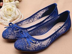 Blue See Through Lace flats Shoes,Lace Bridal Flats,Wedding Flats