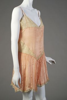 Peach silk teddy trimmed with lace, American, 1920s, KSUM 1986.79.1.