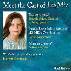 Mia Sinclair Jenness' #MeetTheCast card, part 1.