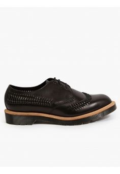 Dr. martens Black Woven Leather 'Weaver' Shoes
