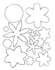 Cutting these out and making a spelling or vocab word mobile? Paper Flowers Diy, Felt Flowers, Flower Crafts, Fabric Flowers, Felt Patterns, Craft Patterns, Flower Patterns, Beading Patterns, Felt Crafts