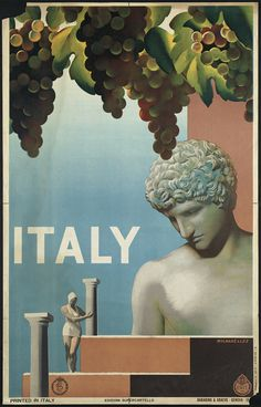 Vintage travel posters. This one's for Genova, Italy. I see wine, ruins, and statuesque Roman men.