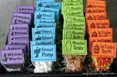 Halloween treats...chocolate chips as witch warts, mini marshmallows for ghost poop, cinnamon toast crunch/golden grahams for monster scabs and candy corn for jack o lantern teeth...how cute!