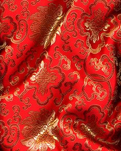 """45"""" Chinese Brocade Fabric, Lattice  Red - by the yard"""