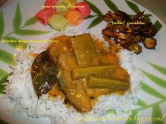 Spicy Treats: Kathirikkai Maangai Murangaikai Sambar / Drumstick Brinjal Mango Sambar North Indian Recipes, South Indian Food, Indian Food Recipes, Kurma Recipe, Easy Baking Recipes, A Food, Mango, Chicken, Cooking
