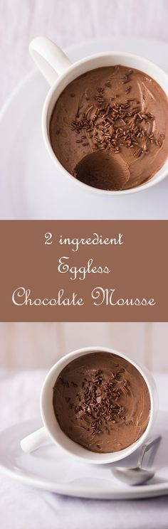 Really Easy Chocolate Mousse. Whipped Cream and Chocolate only. Eggless Chocolate Mousse Recipe, No Bake Chocolate Cake, Healthy Chocolate, Chocolate Desserts, Chocolate Cupcakes, Choc Mousse, Baking Chocolate, Eggless Desserts, Eggless Baking