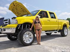 Lifted truck in my fav color YELLOW!!! I think YES:) minus the chic and put a hot cowboys in front and we have a deal.lol