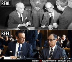 """Top: Lawyer James Donovan and Soviet spy Rudolf Abel. Bottom: Tom Hanks and Mark Rylance as Donovan and Abel in the Bridge of Spies movie. Read """"Bridge of Spies: History vs. Hollywood"""" at http://www.historyvshollywood.com/reelfaces/bridge-of-spies/"""