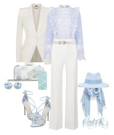 """""""White & Sky Blue"""" by cody-k ❤ liked on Polyvore featuring Alexander McQueen, Sea, New York, Roland Mouret, Gucci, Steve Madden, Oscar de la Renta, Nordstrom, Maison Michel, Matthew Williamson and Roger Vivier"""