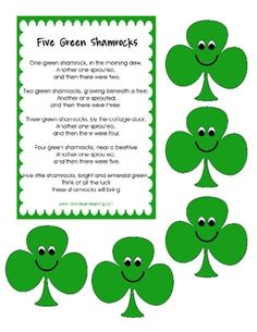 Five Green Shamrocks song with props.Created by Ashley Riveswww.meandmarielearning.blogspot.com...