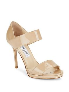 Jimmy Choo Leather Wide Strap Sandals - Nude - Size 40.5 (10.5)