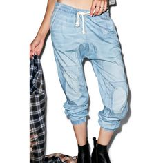 Wildfox Couture Drawstring Chambray Joggers (€91) ❤ liked on Polyvore featuring activewear, activewear pants and wildfox