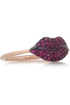 DIANE KORDAS  Lips 18-karat rose gold ruby ring