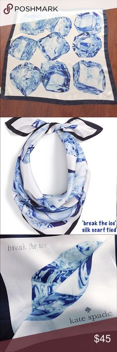 """NWT - KATE SPADE Silk Scarf Authentic KATE SPADE 'break the ice' Digital Print Silk Scarf - Embrace the season's icy-cold temperament in cool style with this silk scarf featuring a digital print of mesmerizing ice cubes. 26"""" square. Silver-foil logo. 100% silk. NWT Sold out on Kate Spade & Nordstrom websites kate spade Accessories Scarves & Wraps"""