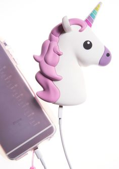 Wattzup Unihorn Power Bank lend us your strength, pretty bb! Get magical with this adorable hyper detailed unicorn shaped portable power bank, featuring outlets for iPhone and Android charging cables and 8 hours of extra battery life.