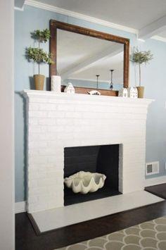 "Esstisch Design zum OutletpreisEsstisch Serie ""Elements""How to Paint a Brick Fireplace Painted Brick Fireplaces, Paint Fireplace, Brick Fireplace Makeover, Fireplace Remodel, Fireplace Design, Fireplace Drawing, Fireplace Cover, Fireplace Shelves, Simple Fireplace"