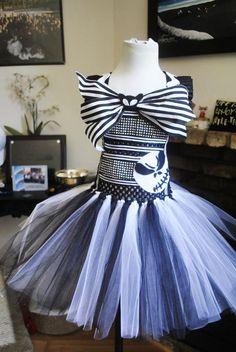 Jack Skellington Skeleton Inspired Nightmare Before Christmas Tulle Tutu Dress Costume Infant to Girls on Etsy, $60.00: